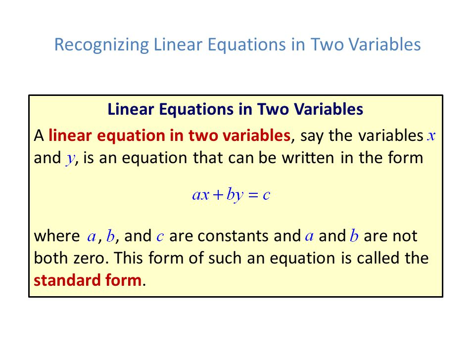 Recognizing Linear Equations in Two Variables
