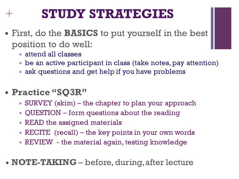 STUDY STRATEGIES First, do the BASICS to put yourself in the best position to do well: attend all classes.