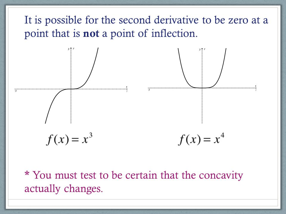 It is possible for the second derivative to be zero at a point that is not a point of inflection.