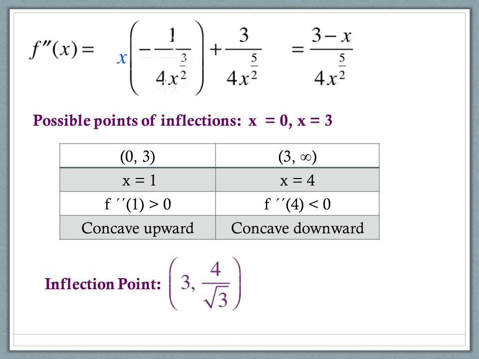 Possible points of inflections: x = 0, x = 3