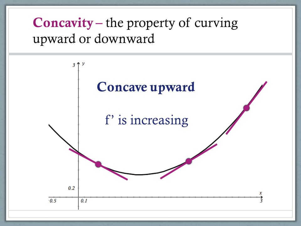 Concavity – the property of curving upward or downward