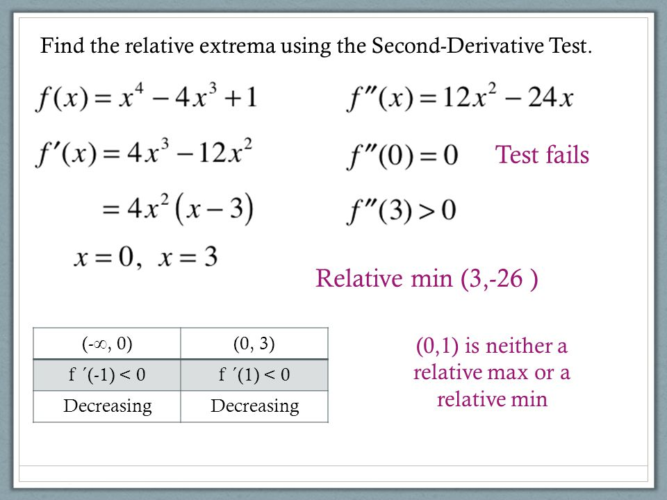 (0,1) is neither a relative max or a relative min