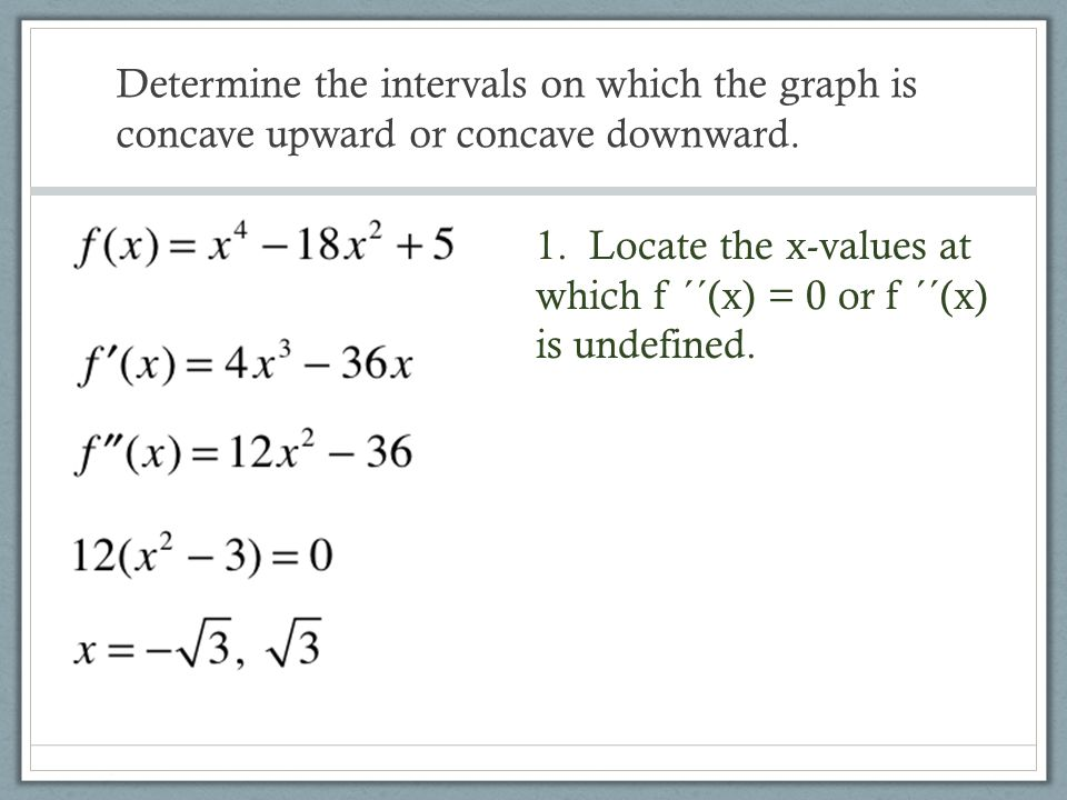 Determine the intervals on which the graph is concave upward or concave downward.