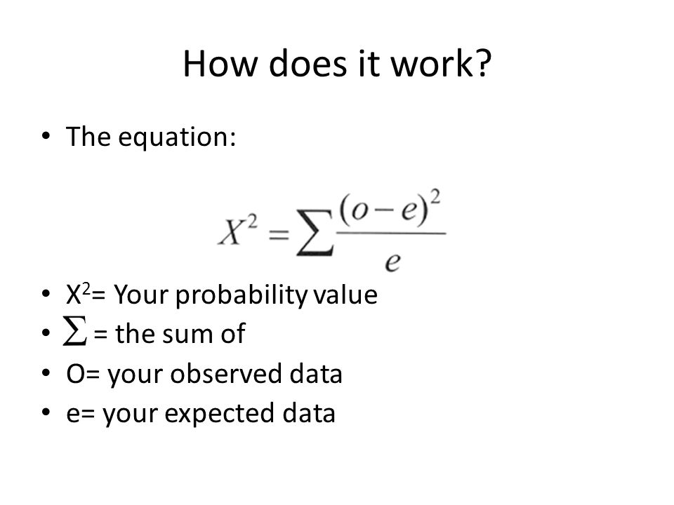 How does it work The equation: X2= Your probability value