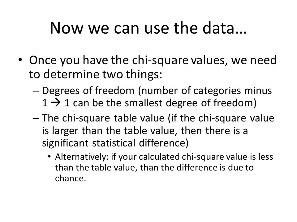 Now we can use the data… Once you have the chi-square values, we need to determine two things: