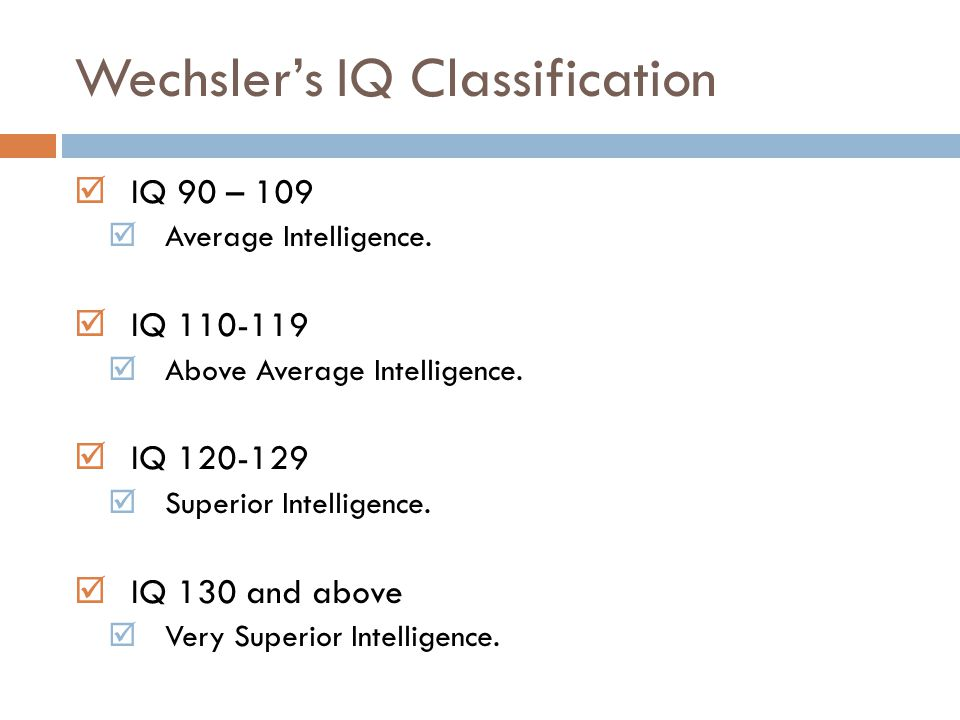 Wechsler's IQ Classification