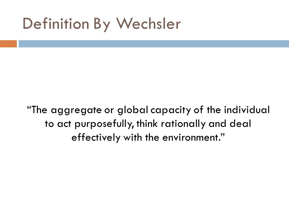 Definition By Wechsler