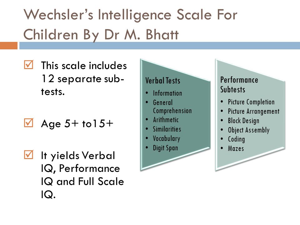 Wechsler's Intelligence Scale For Children By Dr M. Bhatt