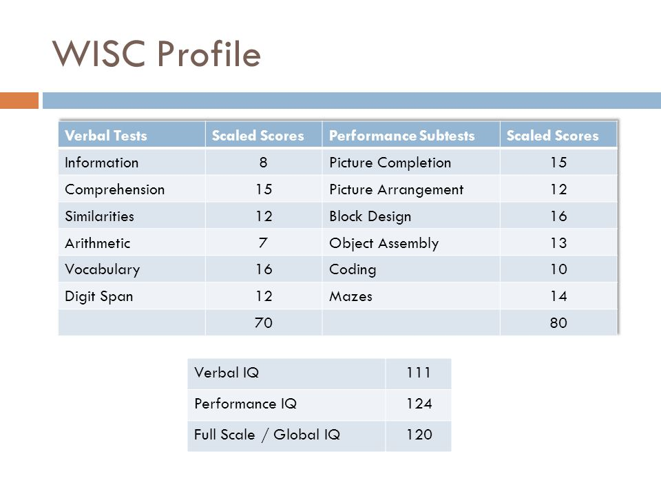 WISC Profile Verbal Tests Scaled Scores Performance Subtests