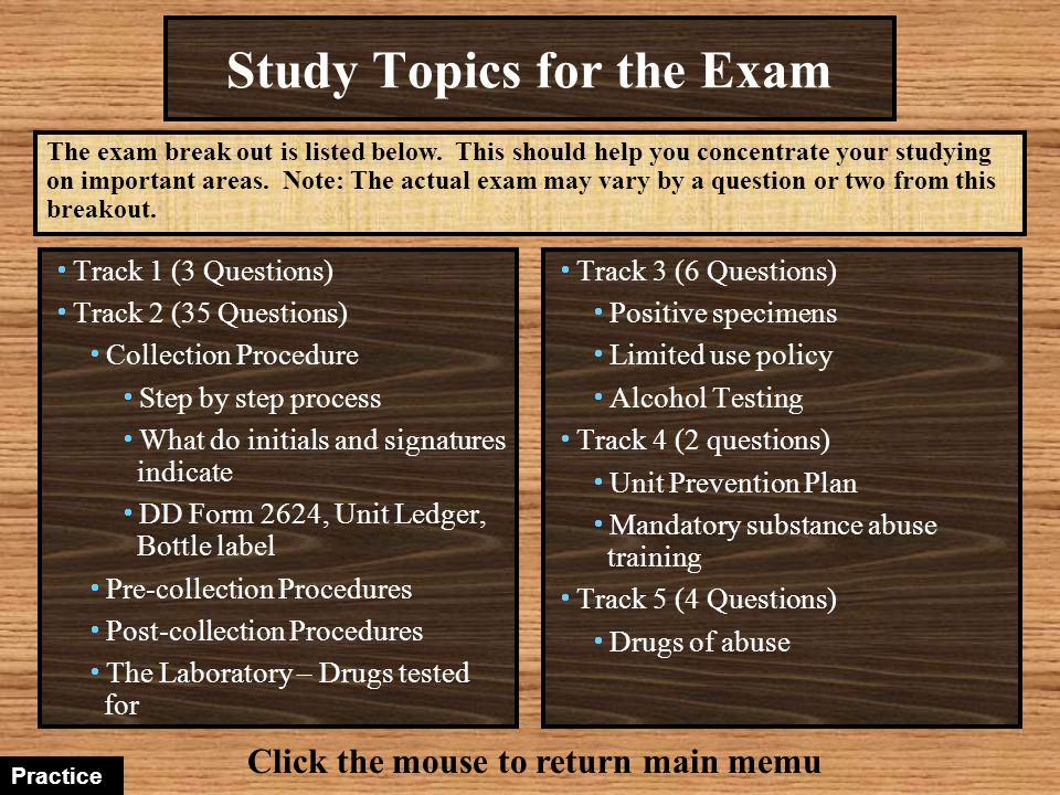 Study Topics for the Exam