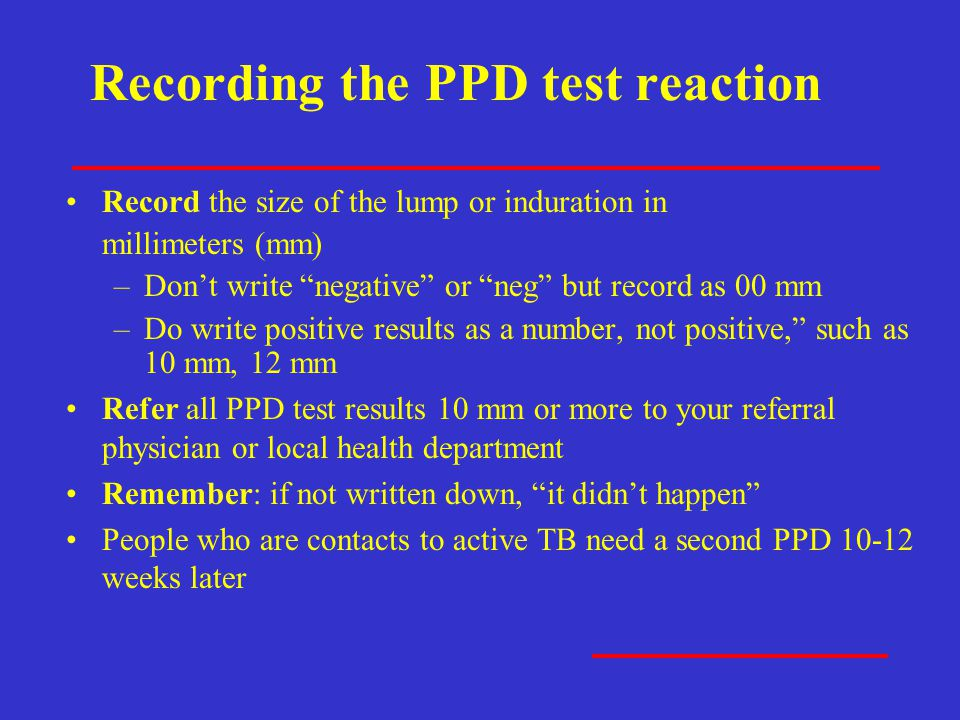 Recording the PPD test reaction