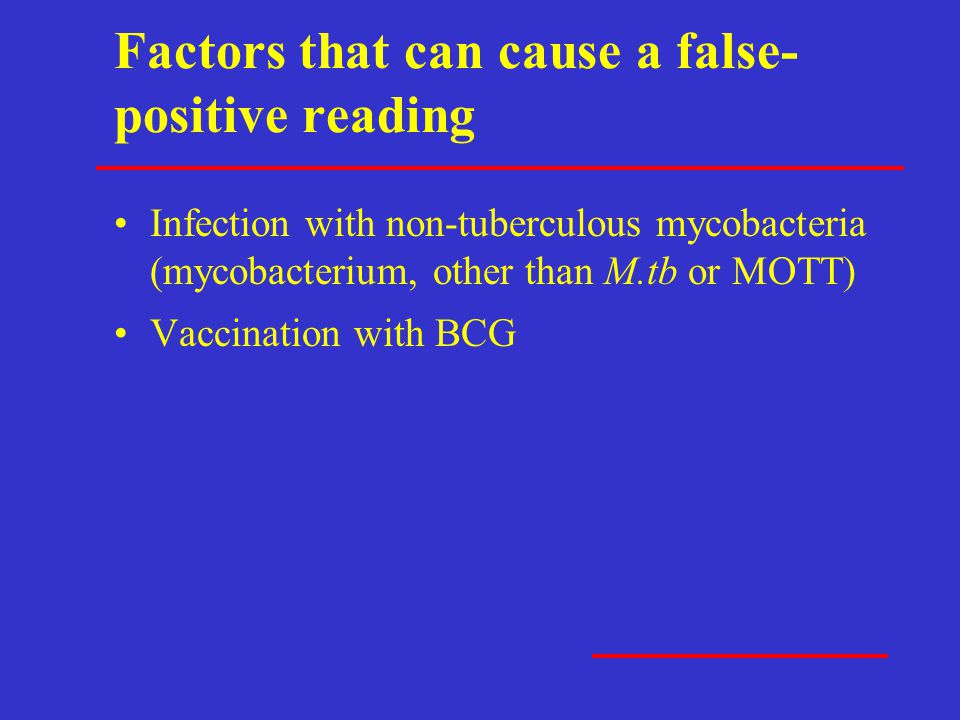 Factors that can cause a false-positive reading