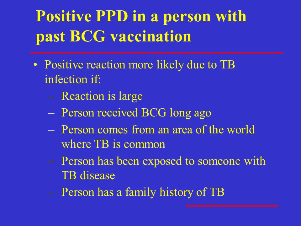 Positive PPD in a person with past BCG vaccination