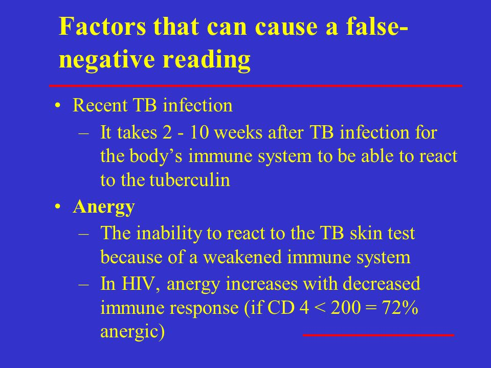 Factors that can cause a false-negative reading