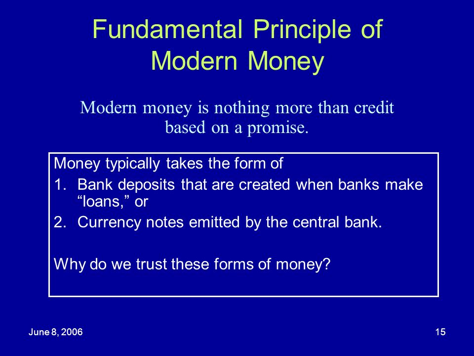 Fundamental Principle of Modern Money