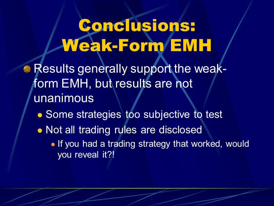 Conclusions: Weak-Form EMH