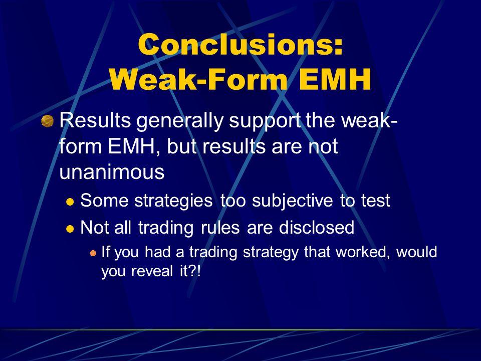 Conclusions: Weak-Form EMH