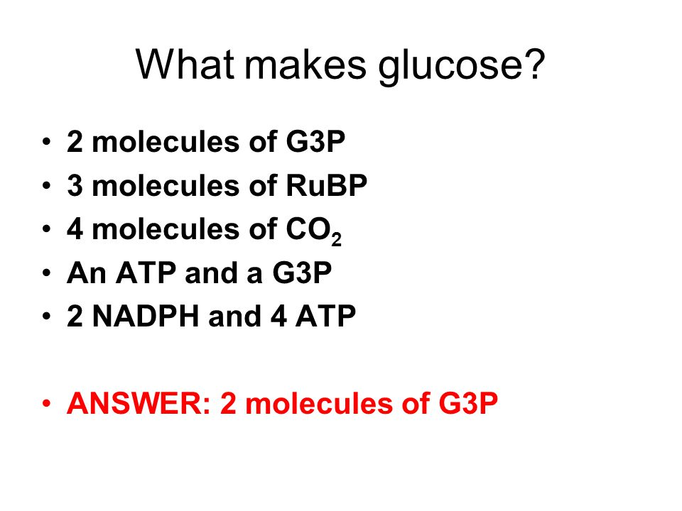 What makes glucose 2 molecules of G3P 3 molecules of RuBP