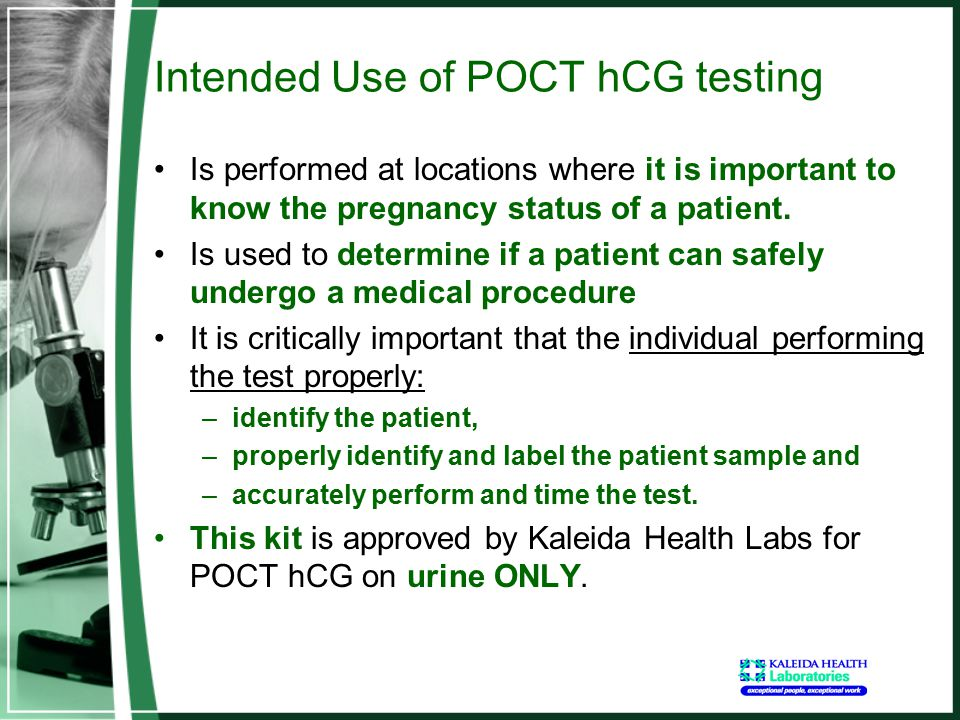 Intended Use of POCT hCG testing