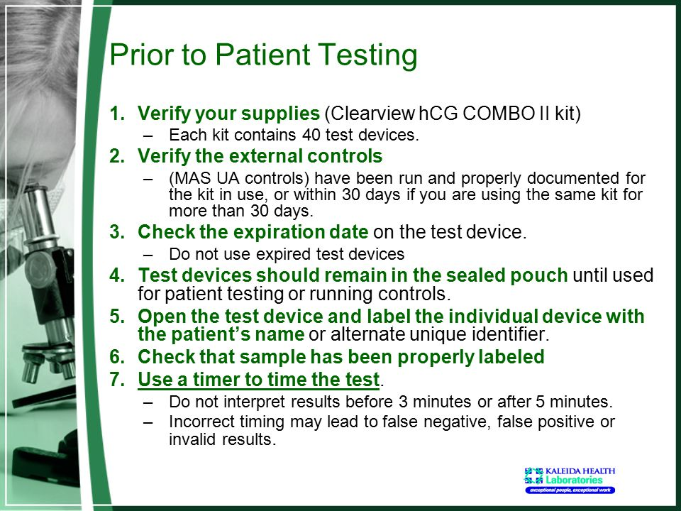 Prior to Patient Testing