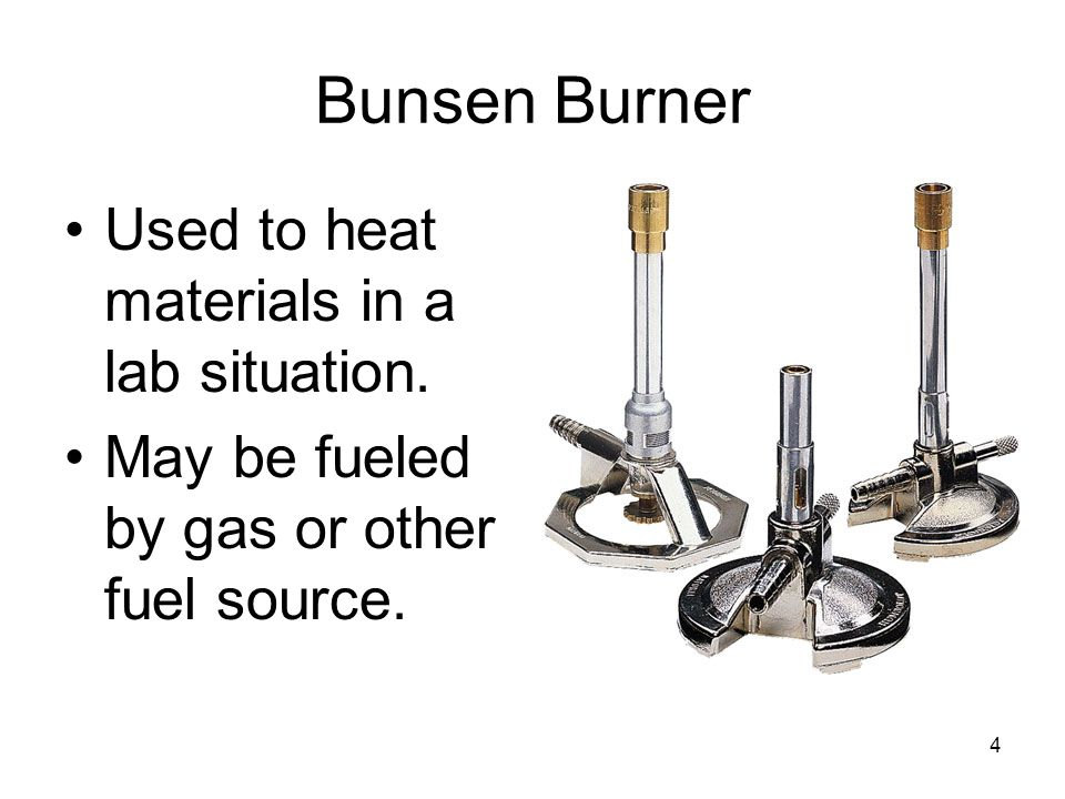 Bunsen Burner Used to heat materials in a lab situation.