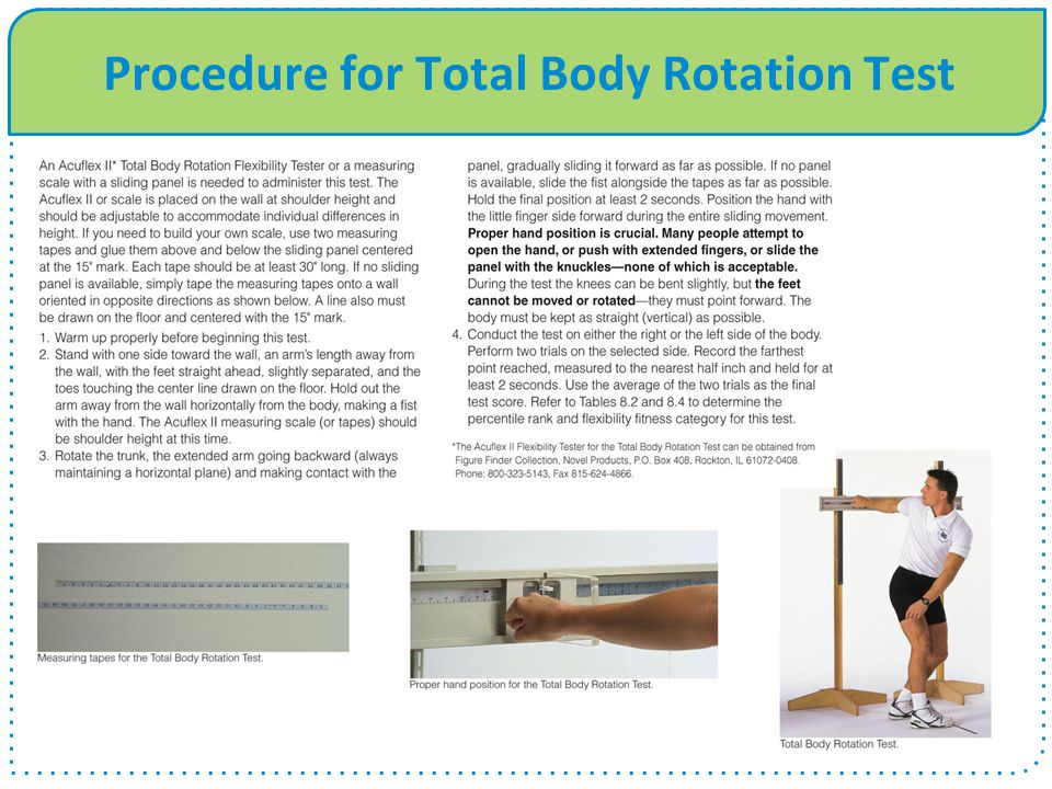 Procedure for Total Body Rotation Test