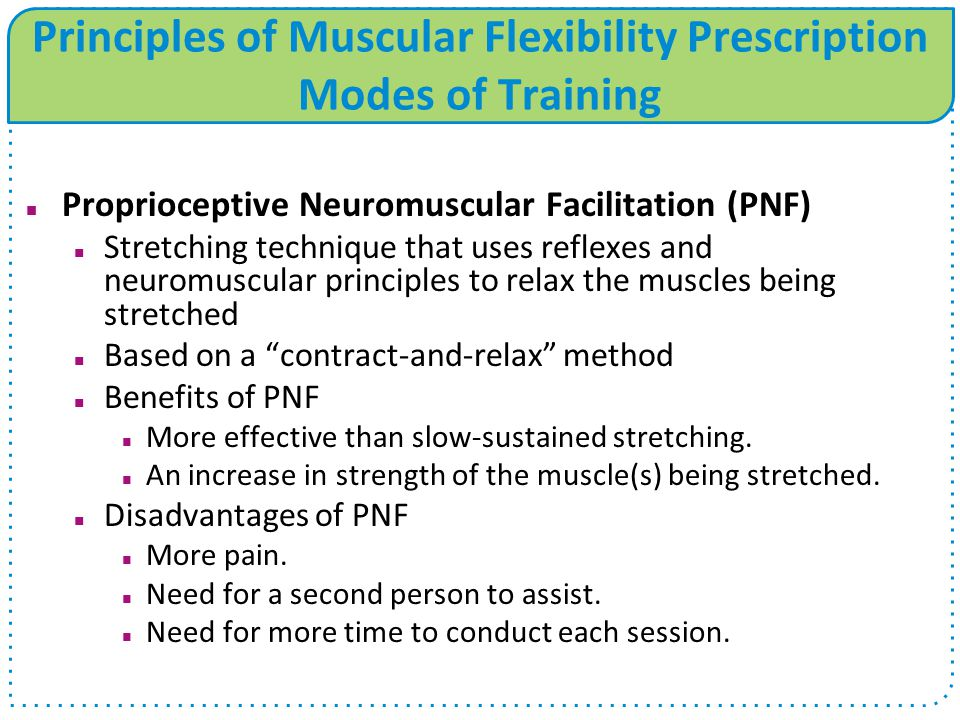 Principles of Muscular Flexibility Prescription Modes of Training