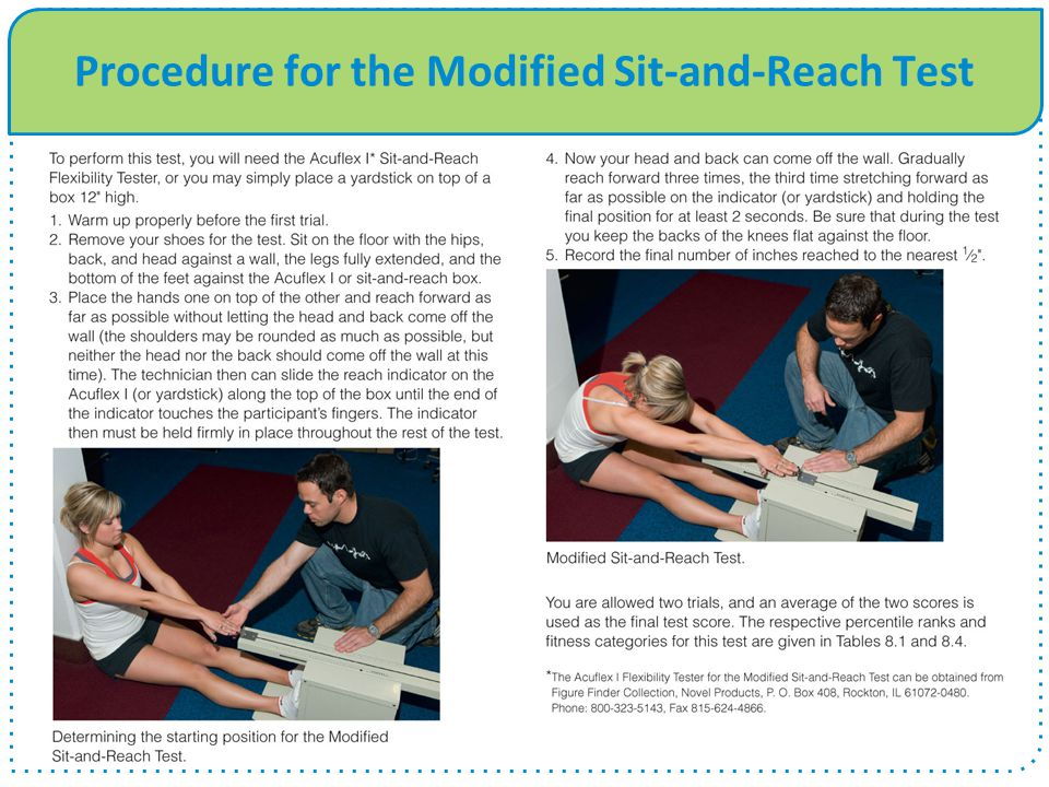 Procedure for the Modified Sit-and-Reach Test