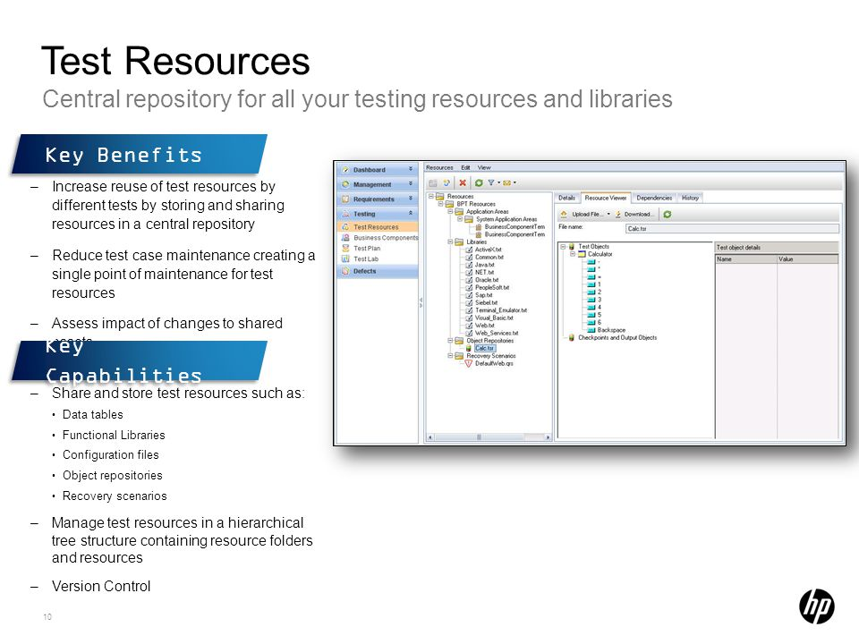 Test Resources Central repository for all your testing resources and libraries. Key Benefits.