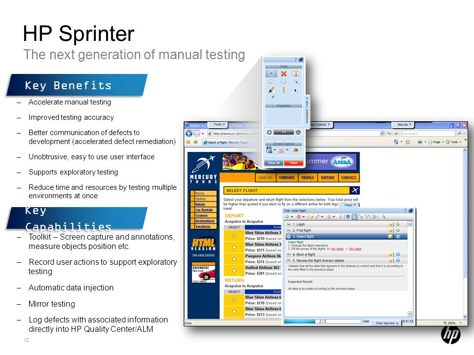 HP Sprinter The next generation of manual testing Key Benefits