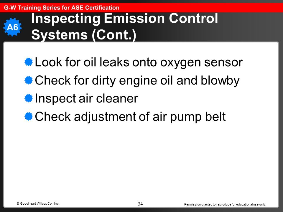 Inspecting Emission Control Systems (Cont.)