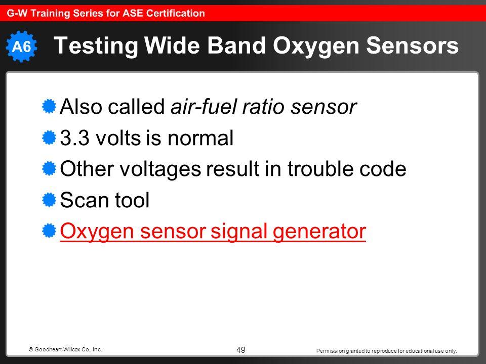 Testing Wide Band Oxygen Sensors