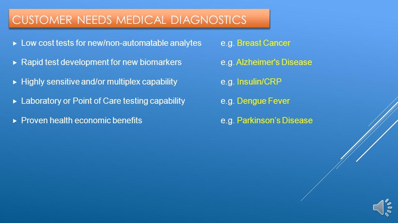 CUSTOMER NEEDS MEDICAL DIAGNOSTICS