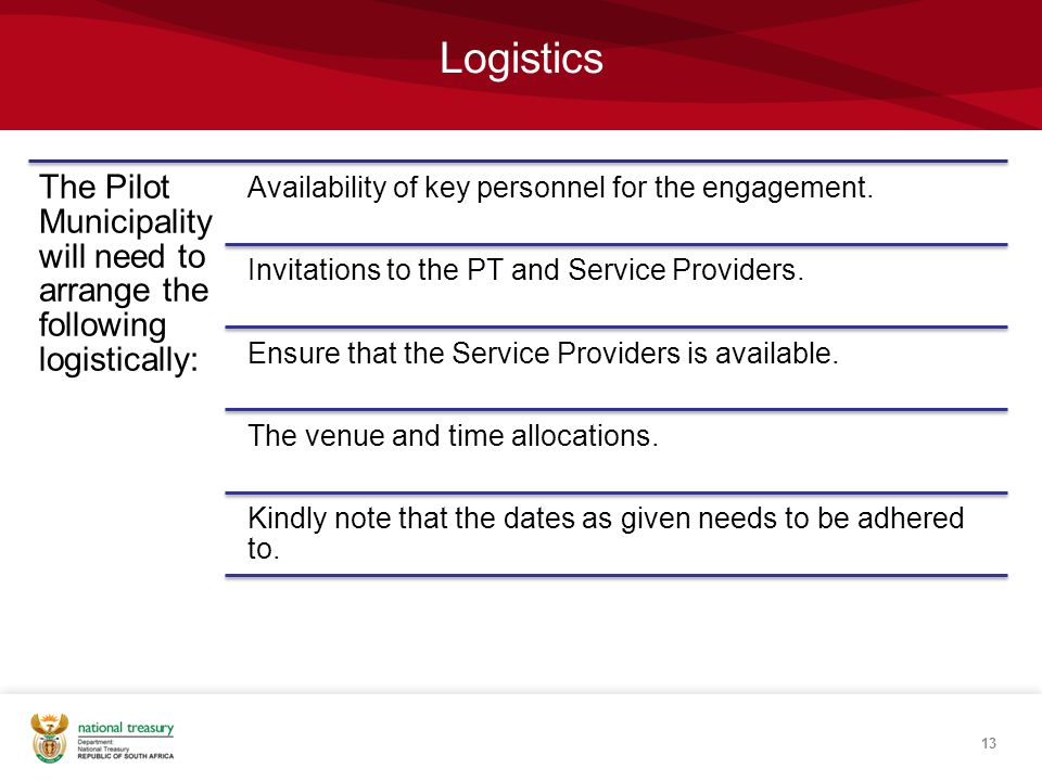 Logistics The Pilot Municipality will need to arrange the following logistically: Availability of key personnel for the engagement.