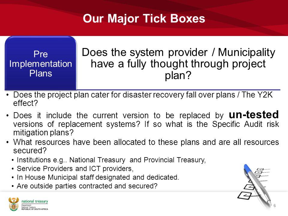 Pre Implementation Plans