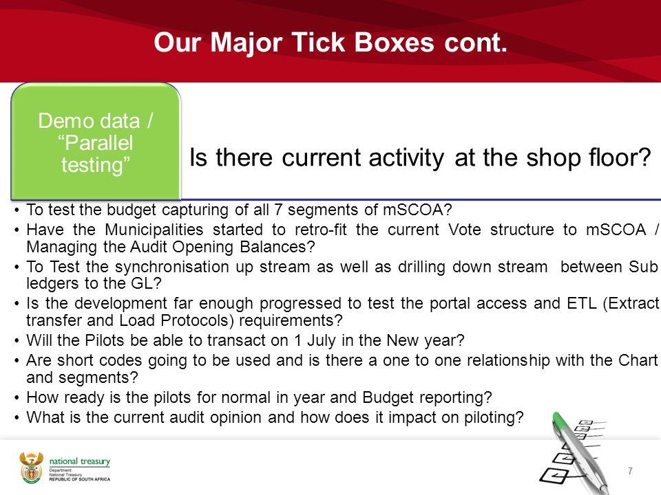 Our Major Tick Boxes cont.