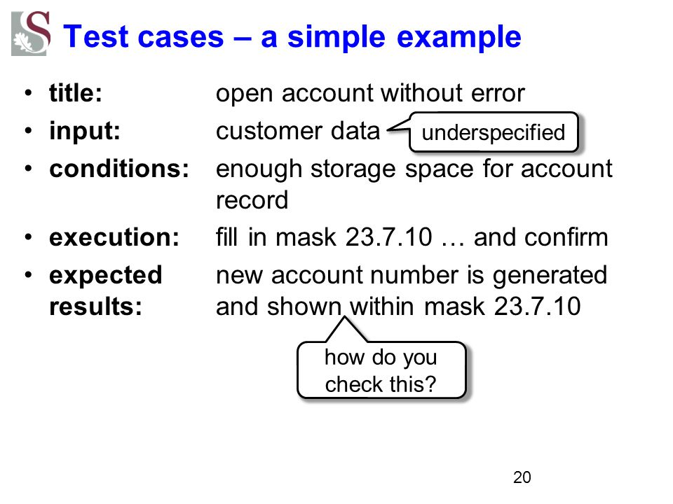 Test cases – a simple example