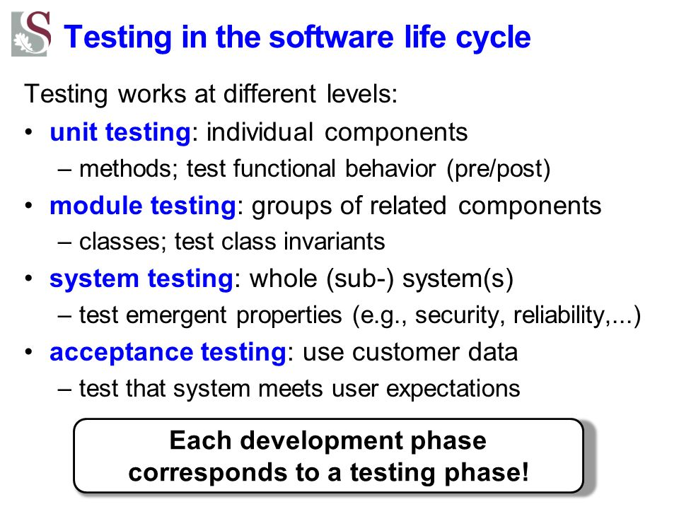 Testing in the software life cycle