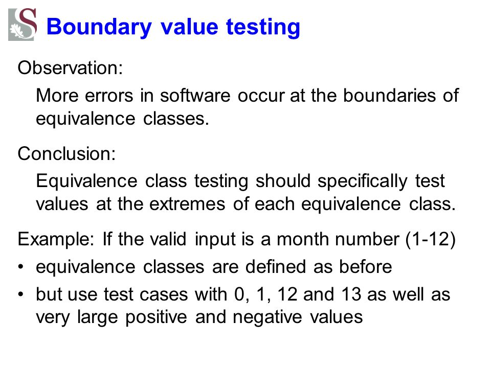 Boundary value testing