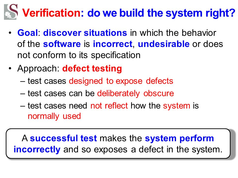 Verification: do we build the system right