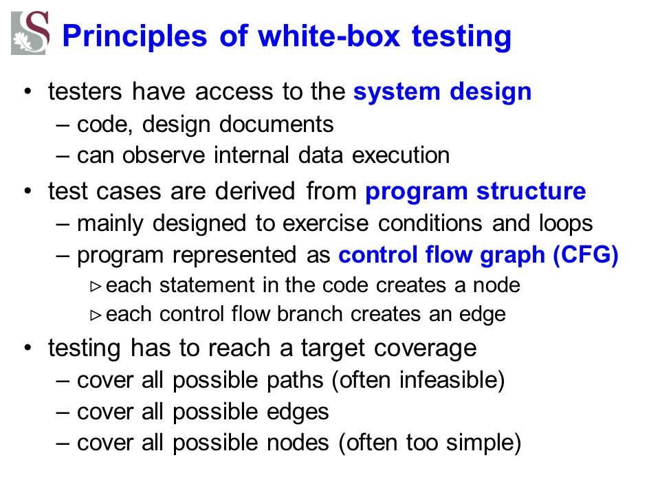 Principles of white-box testing