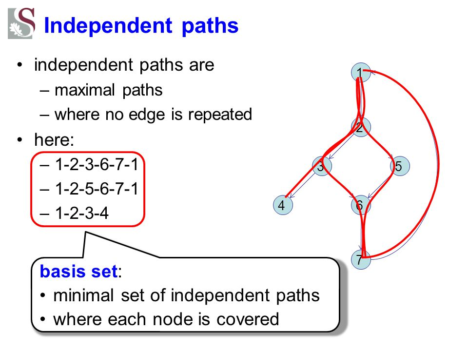 Independent paths independent paths are here: basis set: