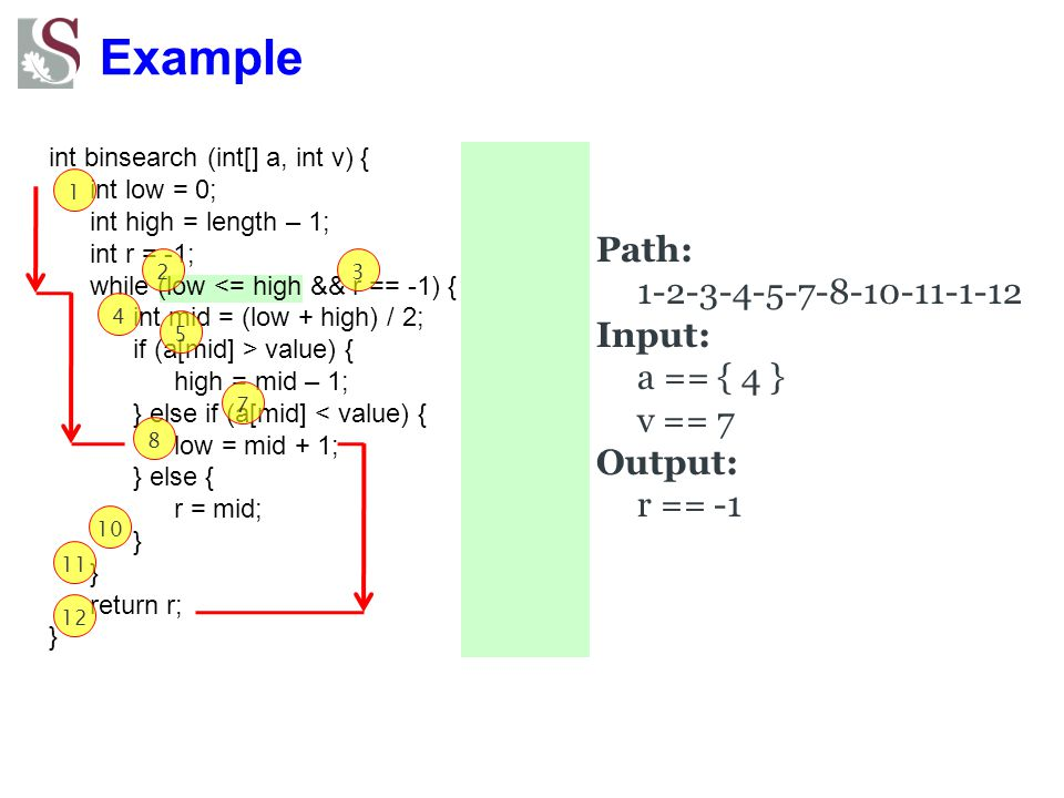 Example Path: 1-2-3-4-5-7-8-10-11-1-12 Input: a == { 4 } v == 7