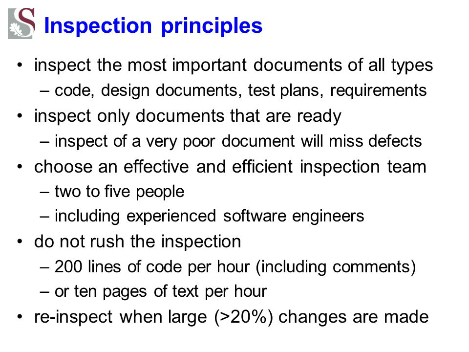 Inspection principles