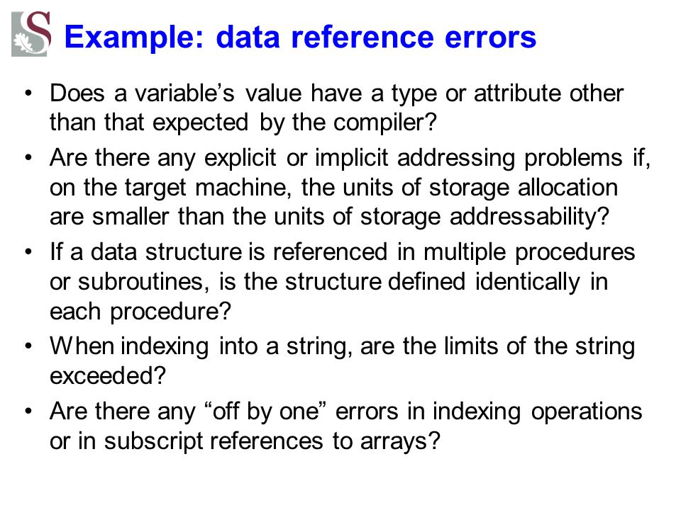 Example: data reference errors