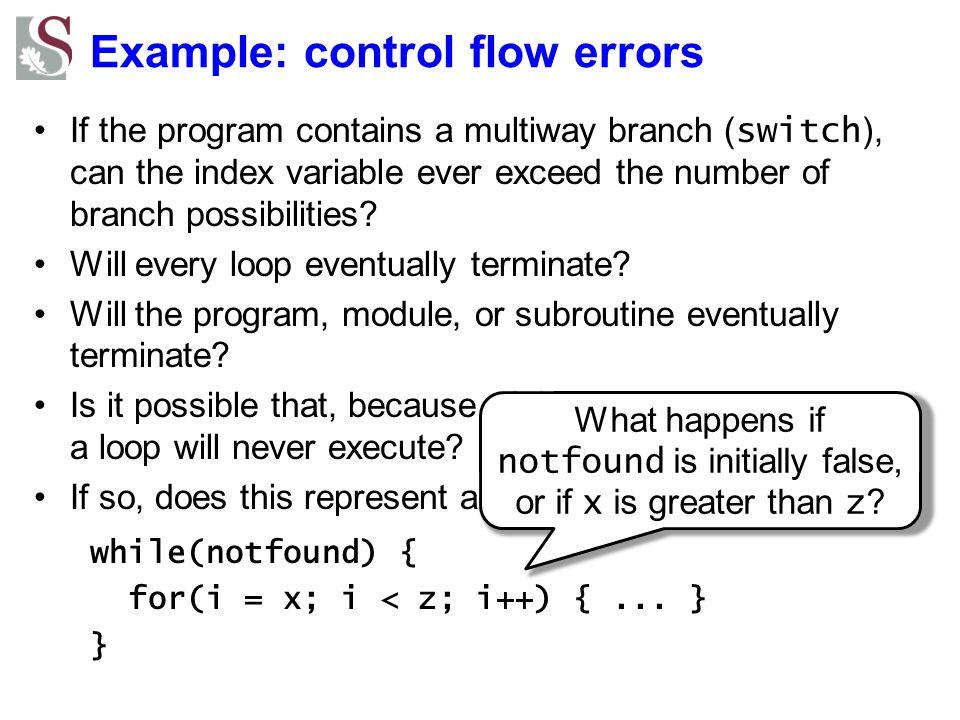 Example: control flow errors