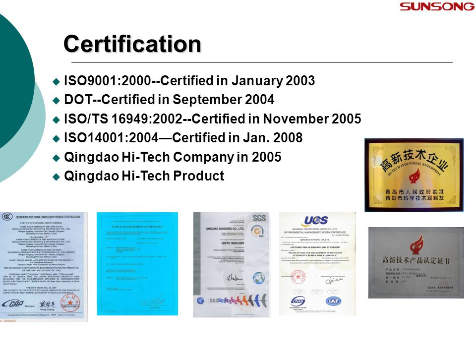 Certification ISO9001:2000--Certified in January 2003