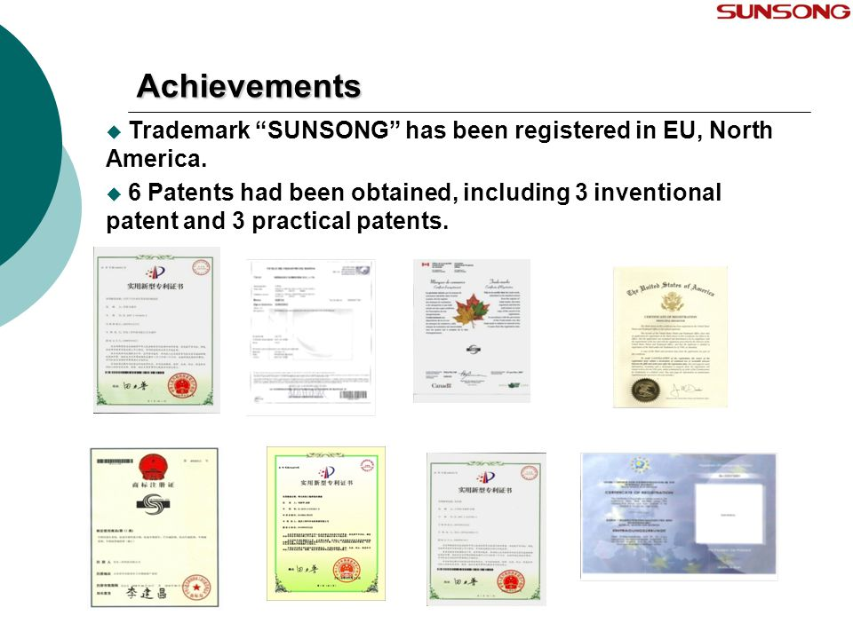 Achievements Trademark SUNSONG has been registered in EU, North America.