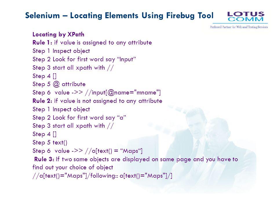 Selenium – Locating Elements Using Firebug Tool