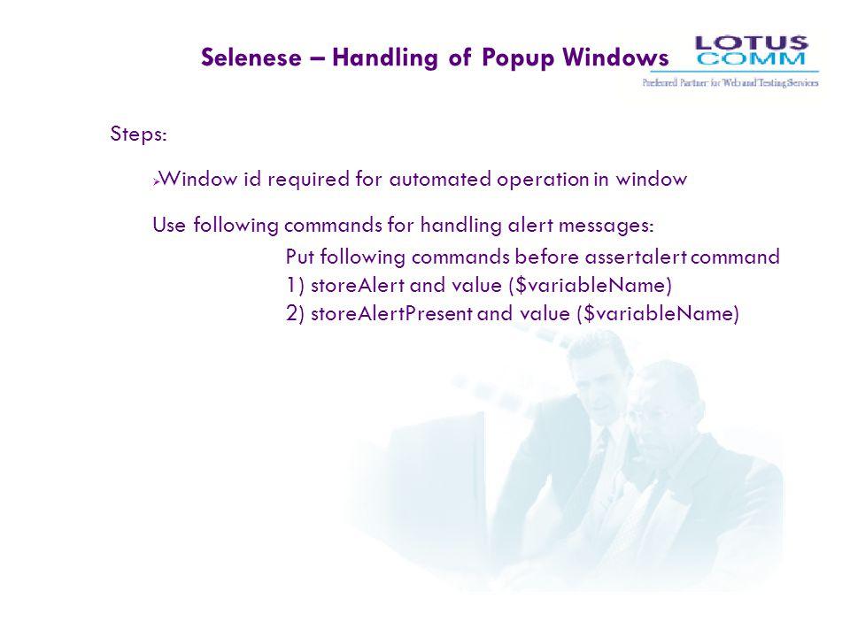 Selenese – Handling of Popup Windows
